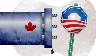 Obama Rejects Keystone Pipeline Project Illustration by Greg Groesch/The Washington Times