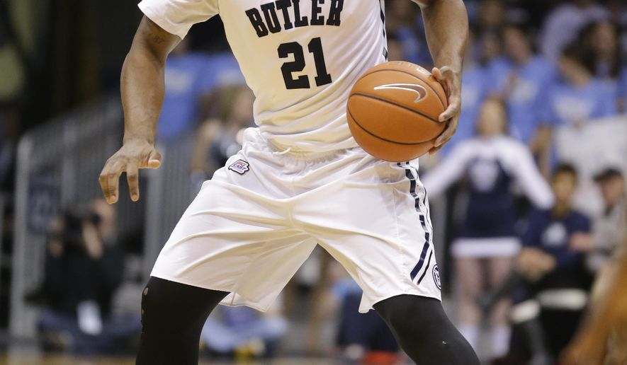 FILE - In this March 3, 2015,  file photo,  Butler forward Roosevelt Jones (21) plays in the first half of an NCAA college basketball game against Georgetown in Indianapolis, Tuesday. Butler, ranked No. 24, faces Citadel to open the season on Saturday.  (AP Photo/Michael Conroy, File)