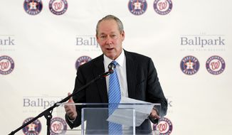 Houston Astros owner Jim Crane speaks during a groundbreaking ceremony for the future home of the of Houston Astros and the Washington Nationals spring training facility on Monday, Nov. 9, 2015, in West Palm Beach, Fla. (AP Photo/Steve Mitchell) ** FILE **