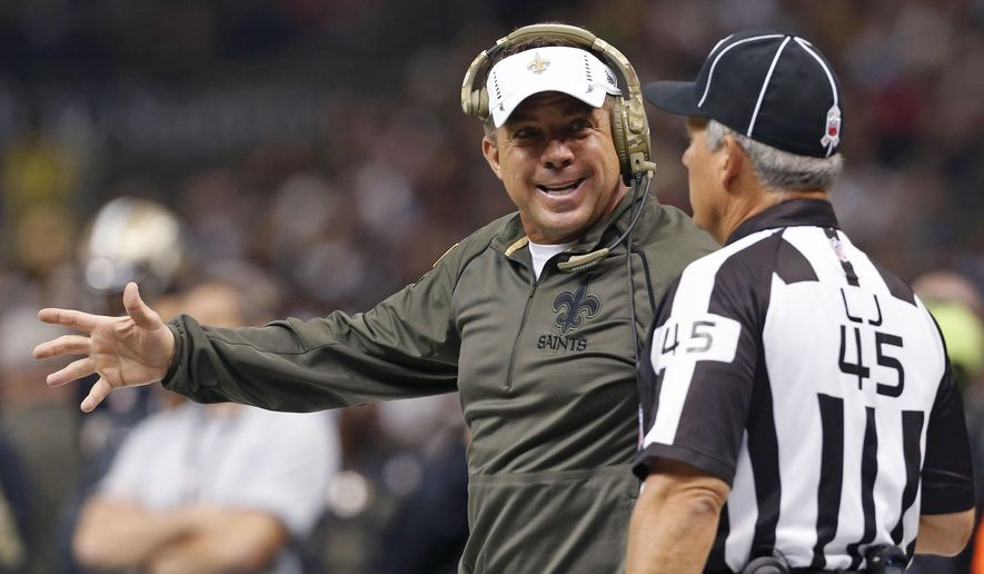 New Orleans Saints head coach Sean Paytonchallenges an official in the first half of an NFL football game against the Tennessee Titans in New Orleans, Sunday, Nov. 8, 2015. (AP Photo/Jonathan Bachman)