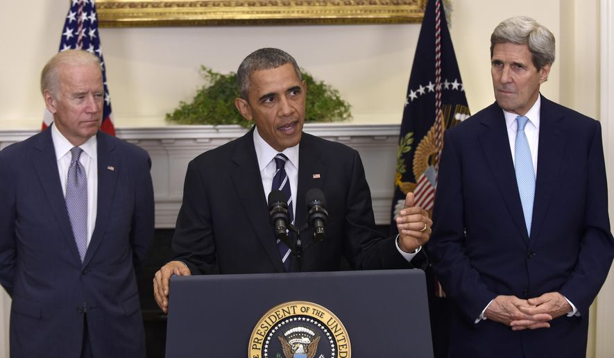 In this Nov. 6, 2015 photo, President Barack Obama, accompanied by Vice President Joe Biden and Secretary of State John Kerry, announces he's rejecting the Keystone XL pipeline because he does not believe it serves the national interest, in the Roosevelt Room of the White House in Washington. In the end President Barack Obama hardly had a choice. Opposition from the Democratic base had grown so intense that Obama would have faced enormous political blowback had he approved the Keystone XL oil pipeline. On the other side, Republican