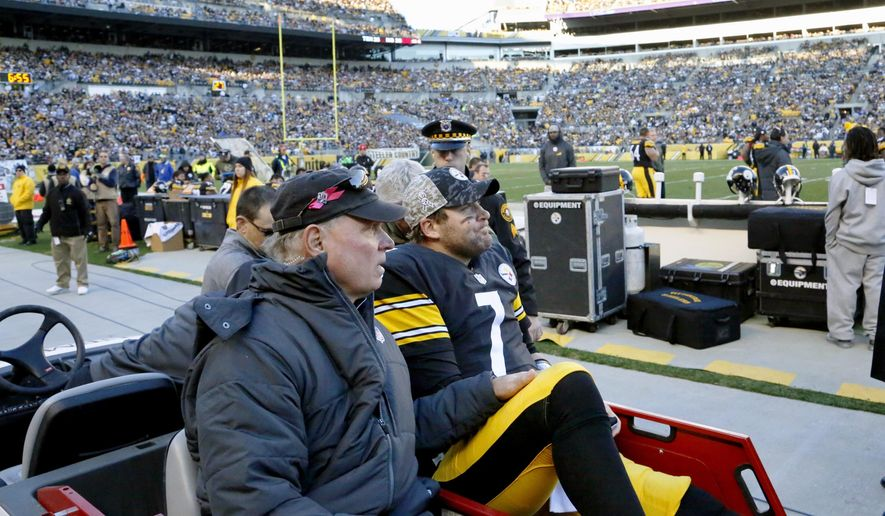 Pittsburgh Steelers quarterback Ben Roethlisberger (7) is taken away in a cart after he was injured in the fourth quarter of an NFL football game against the Oakland Raiders, Sunday, Nov. 8, 2015, in Pittsburgh. The Steelers won 38-35. (AP Photo/Gene Puskar)