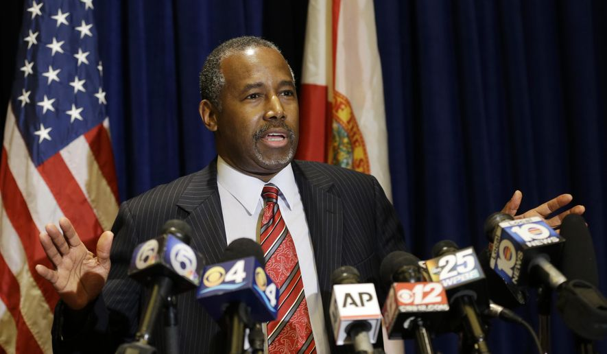 Republican presidential candidate Ben Carson speaks during a news conference before attending a Black Republican Caucus of South Florida event benefiting the group's scholarship fund in Palm Beach Gardens, Fla., in this Nov. 6, 2015, file photo. (AP Photo/Alan Diaz, File)