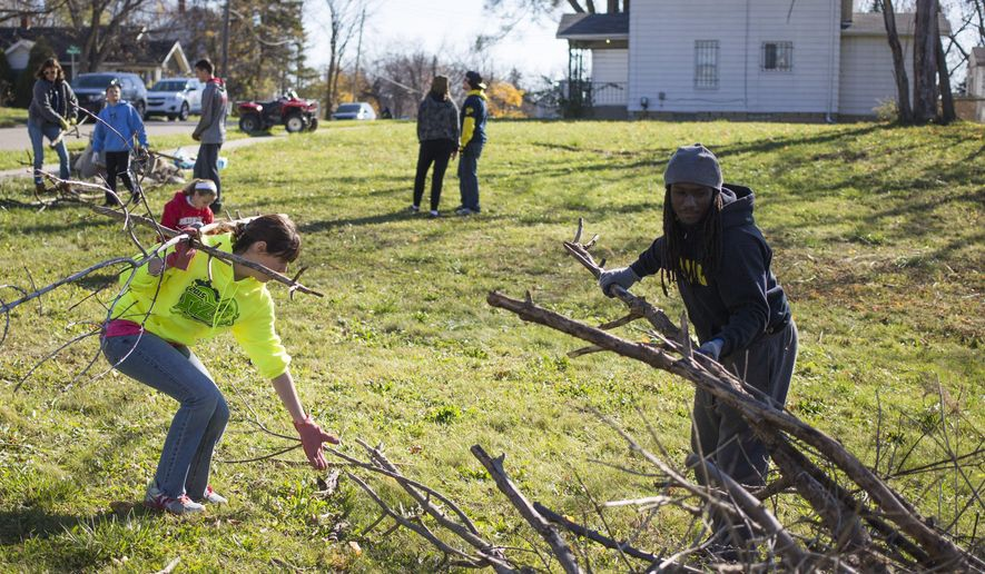 Volunteers work to clear a plot of land for a Flint community garden project organized by former University of Michigan running back Vincent Smith on Sunday, Nov. 8, 2015,  in Flint, Mich. The garden is a part of The #Eating Project aimed at providing community gardens, fresh produce and activity in urban areas. (Danny Miller/The Flint Journal-MLive.com via AP)