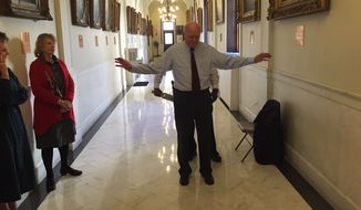 New Hampshire Secretary of State Bill Gardner was subjected to a metal dector wand before entering his own office when Hillary Rodham Clinton was filing for the state primary. (Photo credit: Josh McElveen, WMUR-TV)