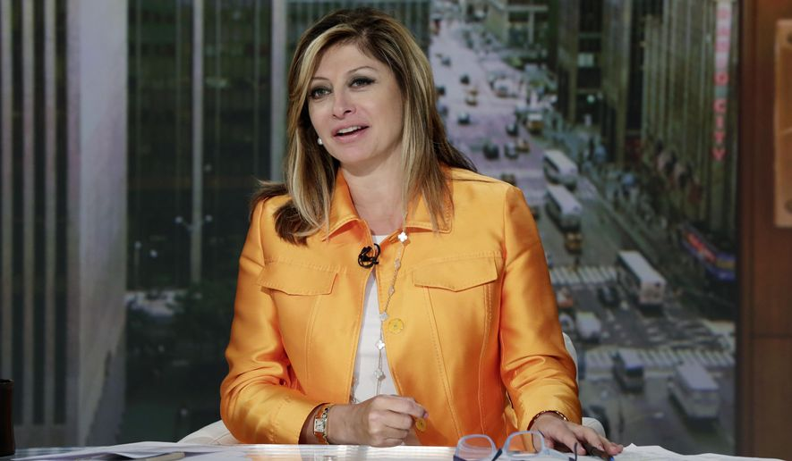 """FILE - In this June 23, 2015 file photo, Maria Bartiromo appears on her """"Mornings with Maria Bartiromo"""" program, on the Fox Business Network, in New York. Bartiromo, one of the moderators for the Tuesday, Nov. 10, 2015, Republican presidential debate, says that while she wants to help viewers understand the differences between candidates, she's not looking to start brawls. The fourth GOP debate - and first since a CNBC session left candidates grumbling about the journalists asking questions - takes place Tuesday night in Milwaukee. (AP Photo/Richard Drew, File)"""