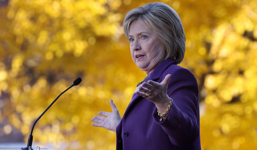 Democratic presidential candidate Hillary Rodham Clinton speaks to supporters after filing papers to be on the nation's earliest presidential primary ballot, Monday, Nov. 9, 2015, in Concord, N.H. (AP Photo/Jim Cole) ** FILE **