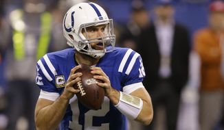 Indianapolis Colts' Andrew Luck (12) looks to throw during the second half of an NFL football game against the Denver Broncos, Sunday, Nov. 8, 2015, Indianapolis. (AP Photo/Michael Conroy)