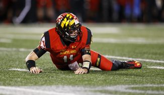 Maryland quarterback Perry Hills looks up after being knocked down while throwing a pass in the second half of an NCAA college football game against Wisconsin, Saturday, Nov. 7, 2015, in College Park, Md. (AP Photo/Patrick Semansky)