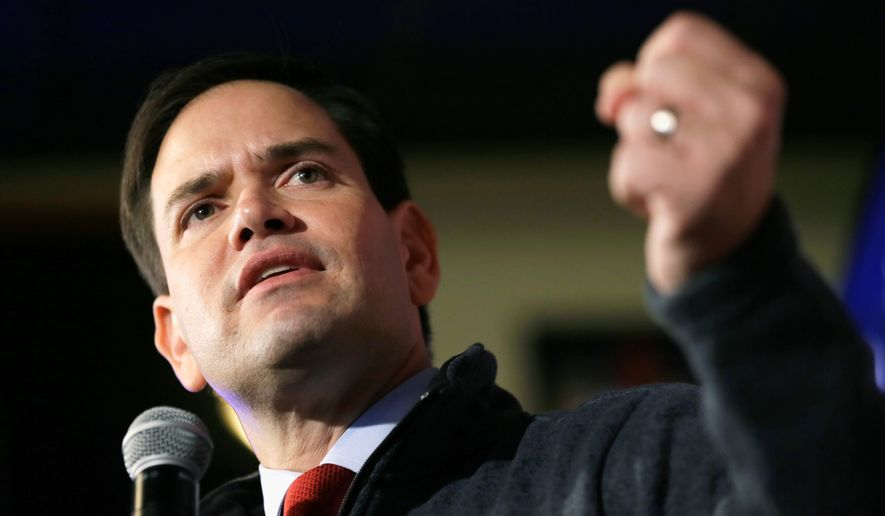 Republican presidential candidate, Sen. Marco Rubio, R-Fla., speaks during a meet and greet with local residents, Wednesday, Nov. 11, 2015, in Davenport, Iowa. (AP Photo/Charlie Neibergall) (credit)