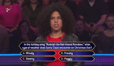 """In the holiday son """"Rudolph the Red-Nosed Reindeer,"""" what type of weather does Santa Claus encounter on Christmas Eve?"""