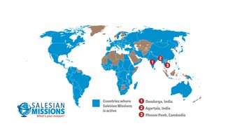 Salesian Missions offer services to at-risk youth and families in some 130 countries, including India and Cambodia, according to this 2012 map. (Photo courtesy of Salesian Missions and its MissionNewswire.org).