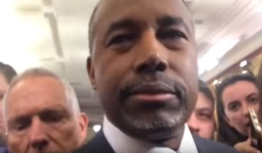"""Republican presidential candidate Ben Carson fell victim to the latest Internet meme Tuesday night when he was asked by an SB Nation reporter if he'd """"abort Baby Hitler."""" (YouTube/@PFT Commenter)"""