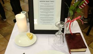"""A Chick-fil-A restaurant in Georgia is honoring Veterans Day by setting up a """"missing man"""" table to remember missing U.S. service members. (Facebook/@Eric Comfort)"""