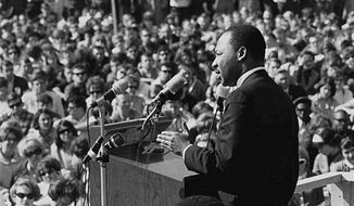 Martin Luther King Jr. speaking to an anti-Vietnam war rally at the University of Minnesota, St. Paul on April 27, 1967. (Wikipedia)