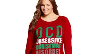 Some Target shoppers have taken to social media to condemn a Christmas sweater that makes light of obsessive-compulsive disorder. (Target)