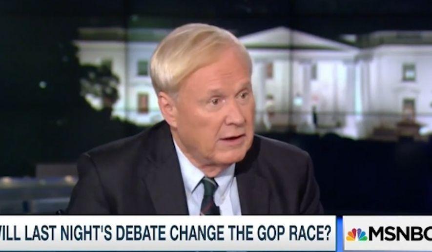 "MSNBC's ""Hardball"" host Chris Matthews had trouble calling Republican presidential candidates Marco Rubio and Ted Cruz ""Hispanic"" Wednesday night, preferring instead to call them ""Cuban nationals."" (MSNBC)"