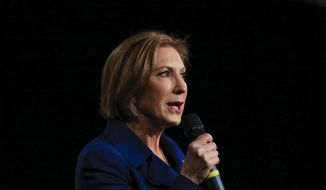 Republican presidential candidate Carly Fiorina speaks at the Iowa GOP's Growth and Opportunity Party at the Iowa state fair grounds in Des Moines, Iowa, Saturday, Oct. 31, 2015. (AP Photo/Nati Harnik)