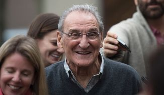 "Vincent Asaro leaves Brooklyn federal court Thursday, Nov. 12, 2015, in New York. Asaro was acquitted Thursday, Nov. 12, 2015, of charges he helped plan a legendary 1978 Lufthansa heist retold in the hit film ""Goodfellas."" (AP Photo/Bryan R. Smith)"