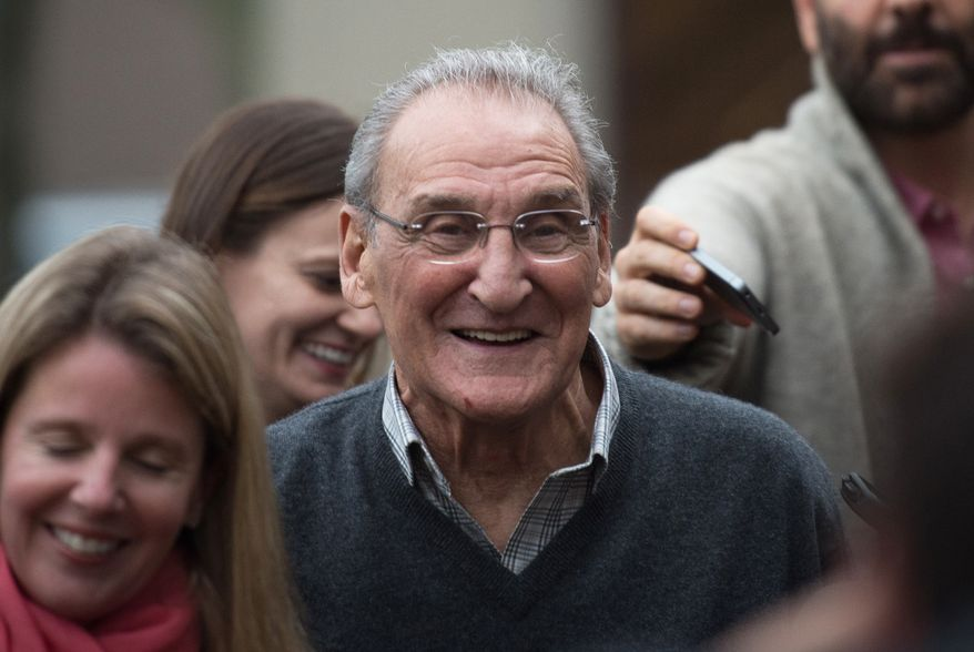 """Vincent Asaro leaves Brooklyn federal court Thursday, Nov. 12, 2015, in New York. Asaro was acquitted Thursday, Nov. 12, 2015, of charges he helped plan a legendary 1978 Lufthansa heist retold in the hit film """"Goodfellas."""" (AP Photo/Bryan R. Smith)"""