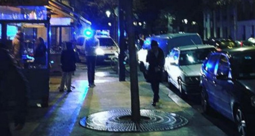 An image posted on social media from outside the Paris restaurant where a shooting occurred.