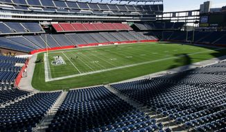 Empty seats surround the new synthetic turf of the football field at Gillette Stadium, in Foxborough, Mass., Tuesday, Nov. 21, 2006. (AP Photo/Steven Senne) ** FILE **