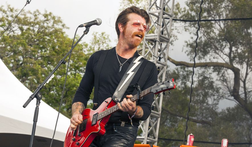 Jesse Hughes of Eagles of Death Metal performs at Riot Fest & Carnival in Douglas Park in Chicago in this Sept. 11, 2015, file photo. Hughes was scheduled to perform, Friday, Nov. 13, 2015, with the band at the Bataclan concert hall in Paris where patrons were taken hostage. (Photo by Barry Brecheisen/Invision/AP, File)