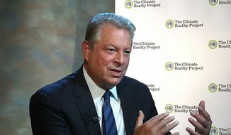 In this image from video, taken Nov. 9, 2015, former Vice President Al Gore gestures during an interview with The Associated Press in Nashville, Tenn. (AP Photo/Alex Sanz) ** FILE **