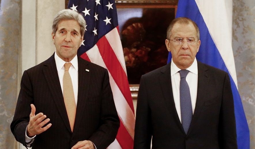 Russia's Foreign Minister Sergey Lavrov, right, and U.S. Secretary of State John Kerry address the media before a meeting in Vienna, Austria, Saturday Nov.14, 2015. Foreign ministers from more than a dozen nations have begun meeting in Vienna seeking to find a way to resolve the conflict in Syria. (Leonhard Foeger/Pool Photo via AP)