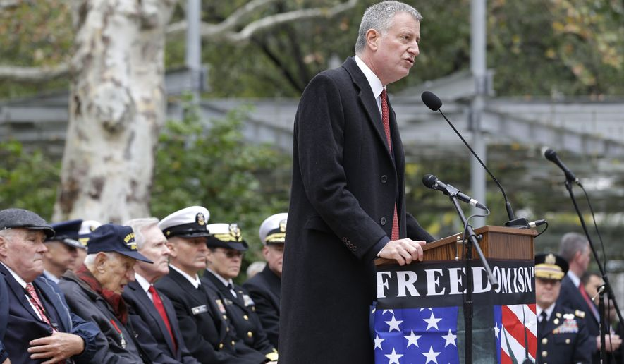 New York City Mayor Bill de Blasio speaks during a ceremony before the start of the annual Veteran's Day parade in New York, Wednesday, Nov. 11, 2015.  (AP Photo/Seth Wenig)