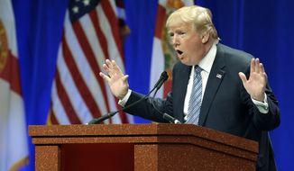 Republican presidential candidate Donald Trump addresses the Sunshine Summit in Orlando, Fla., Friday, Nov. 13, 2015. (AP Photo/John Raoux) ** FILE **