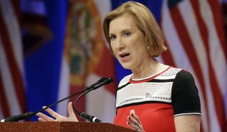 Republican presidential candidate Carly Fiorina addresses the Sunshine Summit in Orlando, Fla., on Nov. 14, 2015. (Associated Press)