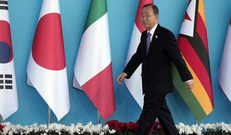 United Nations Secretary General Ban Ki-moon arrives for the G-20 summit in Antalya, Turkey, Sunday, Nov. 15, 2015. The 2015 G-20 Leaders Summit is held near the Turkish Mediterranean coastal city of Antalya on Nov. 15-16, 2015. (AP Photo/Lefteris Pitarakis)