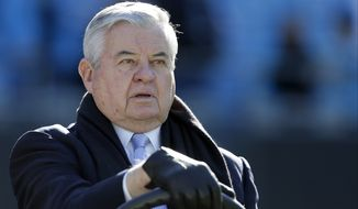 Caroliona Panthers' owner, Jerry Richardson before an NFL football game against the Tampa Bay Buccaneers in Charlotte, N.C., Sunday, Dec. 14, 2014. The Panthers won 19-17. (AP Photo/Bob Leverone)