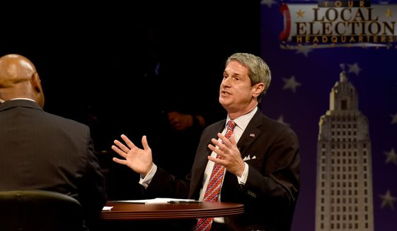 Louisiana Gubernatorial candidate Sen. David Vitter, speaks during a gubernatorial debate in Baton Rouge, La., Monday, Nov. 16, 2015. (Patrick Dennis/The Advocate via AP)   MAGS OUT; INTERNET OUT; NO SALES; TV OUT; NO FORNS; LOUISIANA BUSINESS INC. OUT (INCLUDING GREATER BATON ROUGE BUSINESS REPORT, 225, 10/12, INREGISTER, LBI CUSTOM); MANDATORY CREDIT