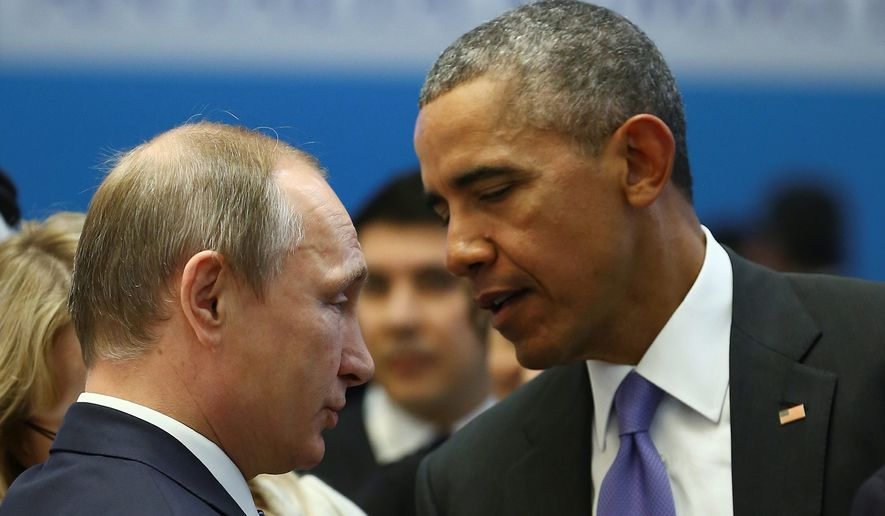President Obama talks with Russian President Vladimir Putin prior to a session of the G-20 summit in Turkey. (Associated Press)
