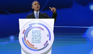 U.S. President Barack Obama speaks at the CEO Summit, attended by 800 business leaders from around the region representing U.S. and Asia-Pacific companies, in Manila, Philippines, Wednesday, Nov. 18, 2015, ahead of the start of the Asia-Pacific Economic Cooperation summit. (AP Photo/Susan Walsh)