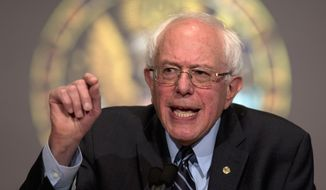 """Sen. Bernie Sanders, Vermont independent and Democratic presidential candidate, speaks at Georgetown University in Washington on Nov. 19, 2015, about the meaning of """"democratic socialism"""" and other topics. (Associated Press)"""