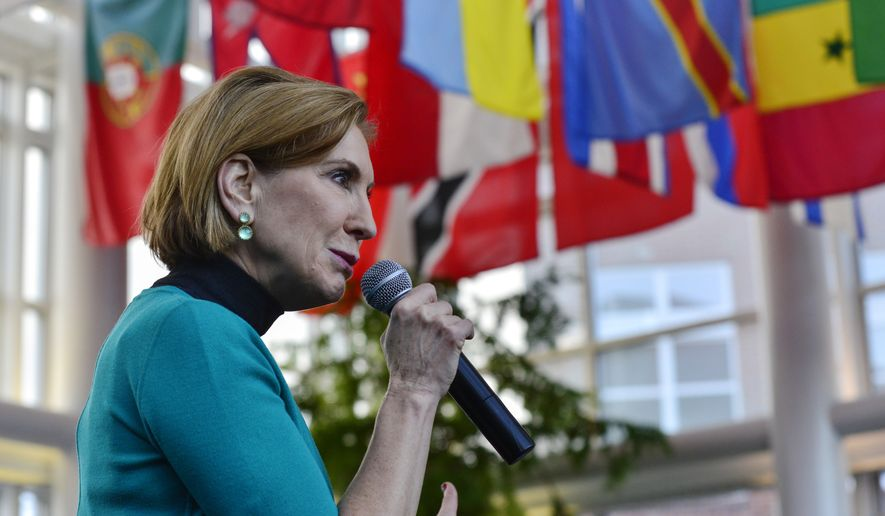 Republican presidential candidate Carly Fiorina addresses a room full of people at Keene State College's student union, Wednesday, Nov. 18, 2015, in Keene. N.H. (Kristopher Radder/The Brattleboro Reformer via AP)