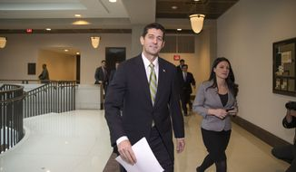 House Speaker Paul Ryan of Wisconsin walks to a news conference on Capitol Hill in Washington, Thursday, Nov. 19, 2015, as Republican lawmakers prepare to push legislation through the House erecting fresh hurdles for Syrian and Iraqi refugees trying to enter the U.S. (AP Photo/J. Scott Applewhite)