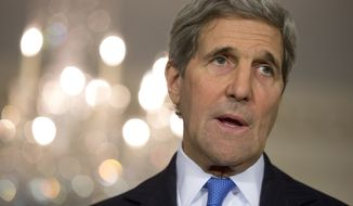 Secretary of State John Kerry speaks to media at the State Department in Washington, Thursday, Nov. 19, 2015, during a news conference with Bahrain's Foreign Minister Khalid bin Ahmed Al Khalifa. (AP Photo/Carolyn Kaster)