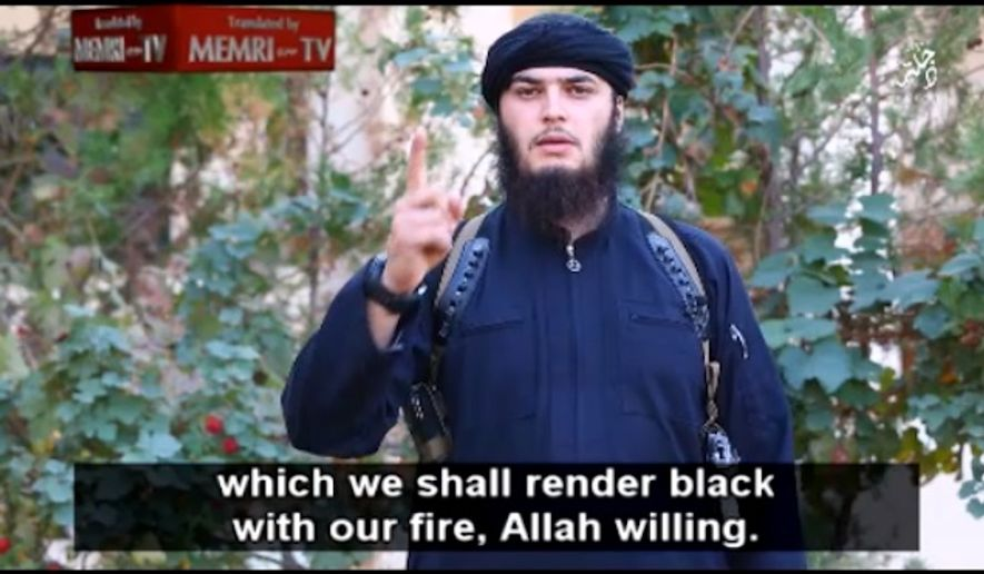 An Islamic State militant makes threats against the White House in a new propaganda video. (Image: Middle East Research Institute.)
