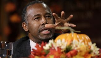 Republican presidential candidate Ben Carson speaks during the Presidential Family Forum, Friday, Nov. 20, 2015, in Des Moines, Iowa. (AP Photo/Charlie Neibergall)