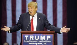 Republican presidential candidate Donald Trump speaks during a campaign stop Saturday, Nov. 21, 2015, in Birmingham, Ala. (AP Photo/Eric Schultz)