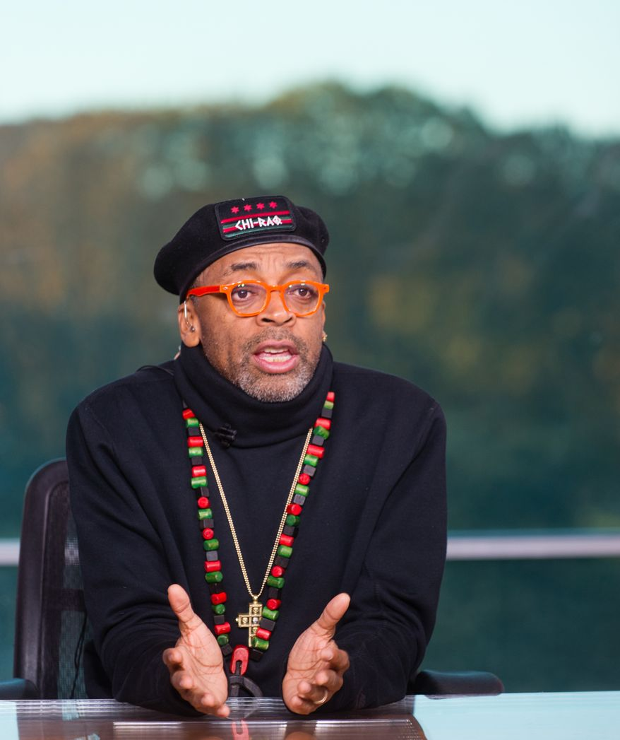 "IMAGE DISTRIBUTED FOR TV ONE - Filmmaker Spike Lee on the set of TV One's News One Now discussing his upcoming release of ""Chi-Raq"" and Hollywood diversity on Friday Nov. 20, 2015. (Rodney Choice/AP Images for TV One)"
