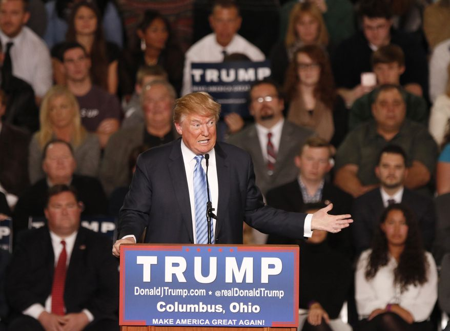 Republican presidential candidate, businessman Donald Trump speaks during a rally at the Greater Columbus Convention Center in Columbus, Ohio, Monday, Nov. 23, 2015. (AP Photo/Paul Vernon)