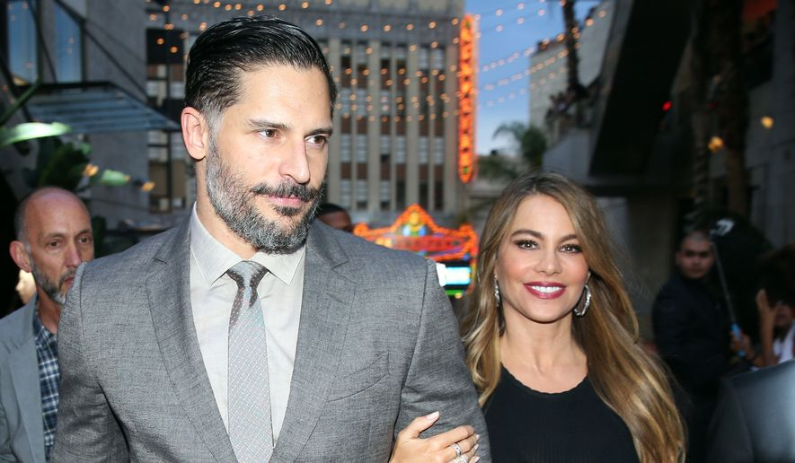 """Joe Manganiello, left, and Sofia Vergara arriving at the Los Angeles premiere of """"Jurassic World"""" at the Dolby Theatre in this June 9, 2015, file photo. Vergara and Manganiello tied the knot on Sunday, Nov. 22, 2015, in a Palm Beach, Fla., ceremony, according to a posting on Vergara's official Facebook page. (Photo by Matt Sayles/Invision/AP)"""