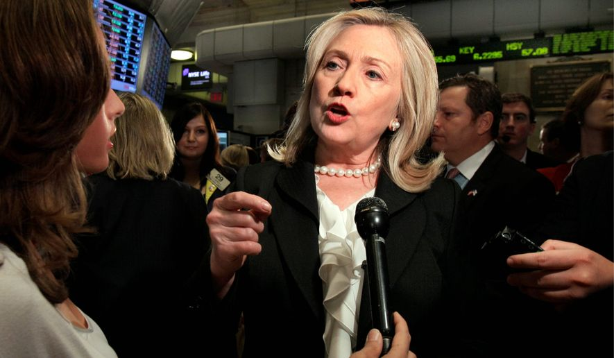 Liberal pundits are angry Hillary Rodham Clinton publicly flogs the financial sector while at the same time accepting millions from it in campaign cash. (Associated Press)