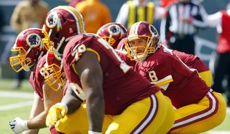 Washington Redskins quarterback Kirk Cousins (8) prepares for the snap against the New York Jets during the first half of an NFL football game, Sunday, Oct. 18, 2015, in East Rutherford, N.J. (AP Photo/Gary Hershorn)