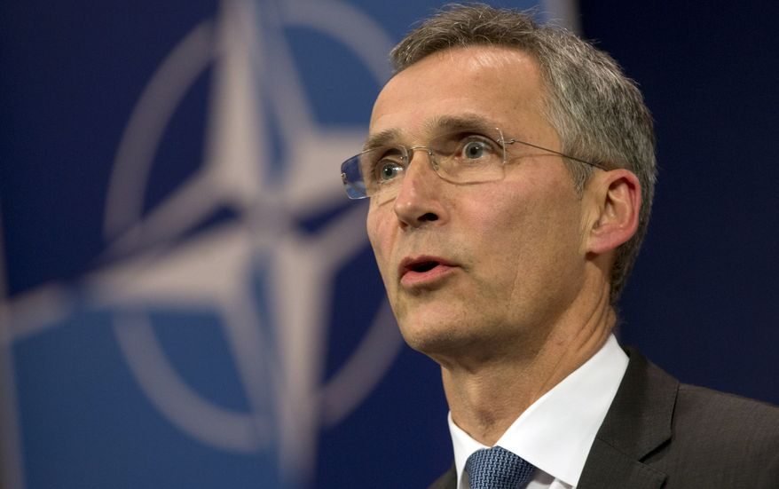 NATO Secretary-General Jens Stoltenberg addresses the media at NATO headquarters in Brussels on Tuesday, Nov. 24, 2015. NATO's North Atlantic Council met in emergency session on Tuesday to discuss the downing of a Russian fighter jet. (AP Photo/Virginia Mayo)